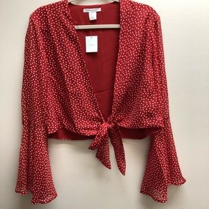 Urban Outfitters red star tie blouse - runs small